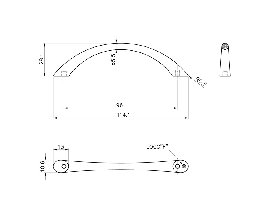 Tapered Bow Handle - Satin Nickel - 114mm Long
