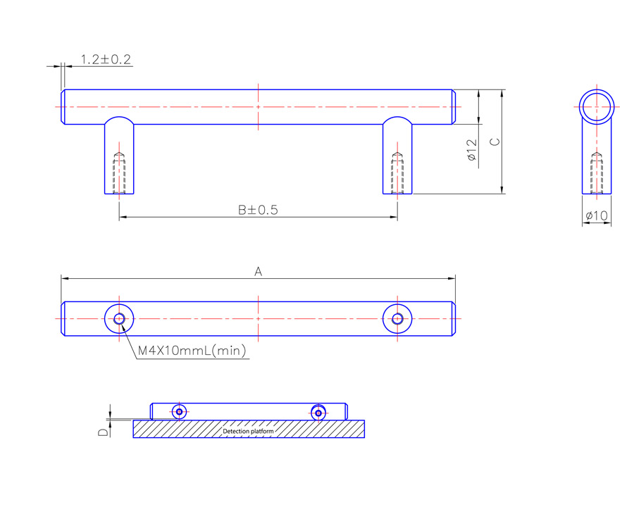 T Bar Handle 125mm Long
