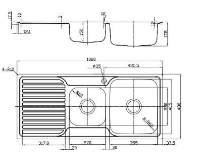 Platinum Sink - 1 Tap - Right Hand Bowl - Left Hand Drainer