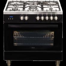 90cm Upright 5 Burner Oven - Black - ARTUSI CAFG91B