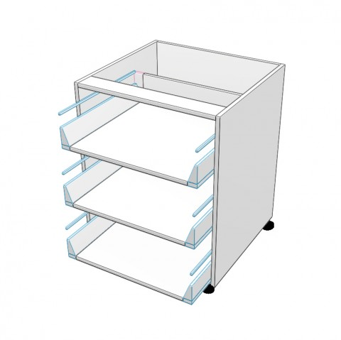 3 equal drawers no drawer fronts