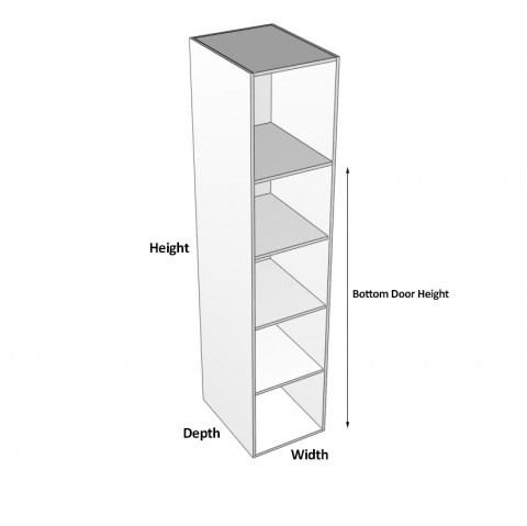 2 doors hinged right 1 fixed shelf 3 adjustable dimensions