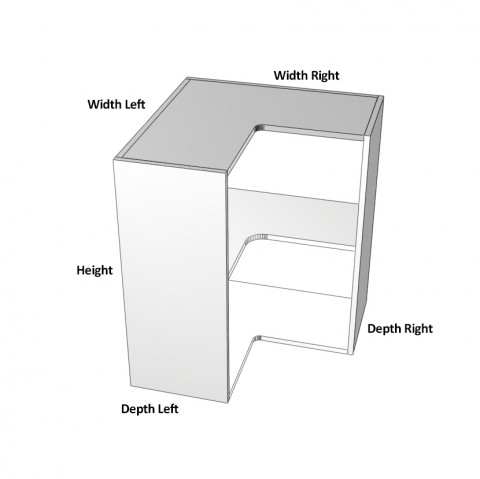 2-Door-corner right hinge 1 shelf- dimensions-
