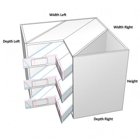 3 Corner Drawers Dimensions