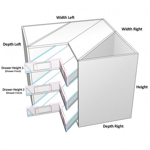 3 Corner Drawers Unequal dimensions