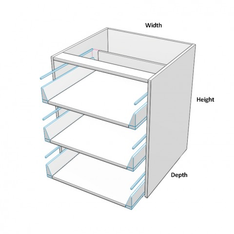 3 equal drawers no drawer fronts dimensions
