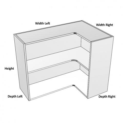 3-Door-corner Right hinge 1 shelf dimensions -