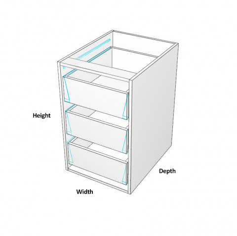 Carcass Only - Base Cabinet - To Suit internal drawers - Dimensions