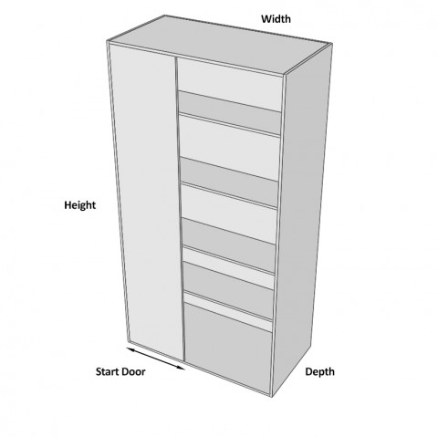 Pantry Cabinet Blind Corner 1 Door Hinged Left dimensions