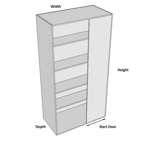 Pantry Cabinet Blind Corner 1 Door Hinged Right dimensions