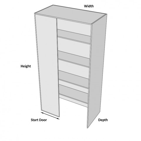 Pantry Cabinet Blind Corner 2 Door (Right) walk in dimensions