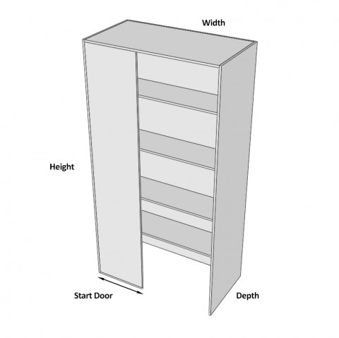 Pantry Cabinet Blind Corner 2 Doors (Right) dimensions - Copy