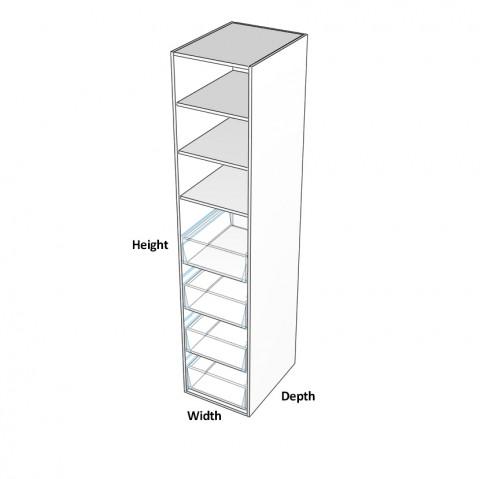 Pantry-1-door-hinge-left with 4 internal drawers dimensions