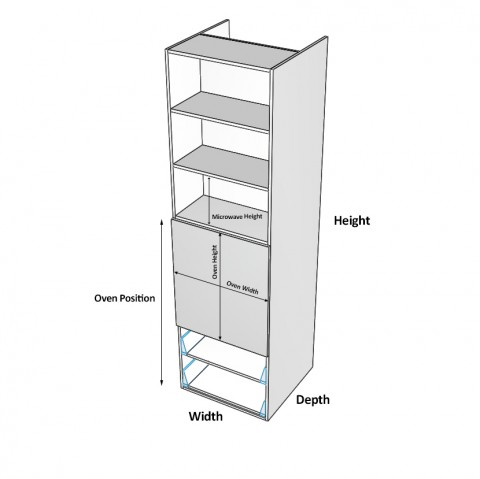 Wall-Oven-2-Drawers Two Doors Dimensions