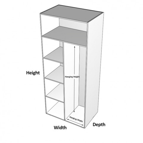Wardrobe Cabinet Shelves Left dimensions