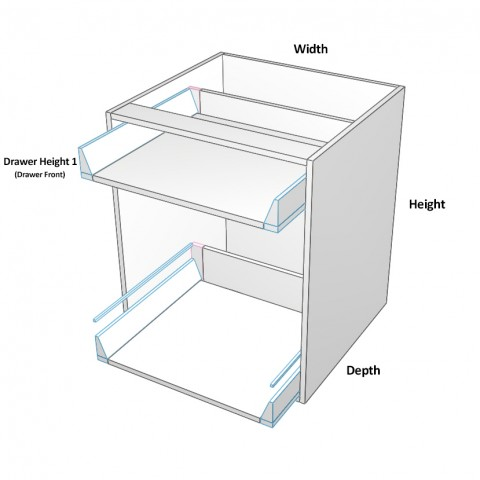 2 drawers top not equal dimensions