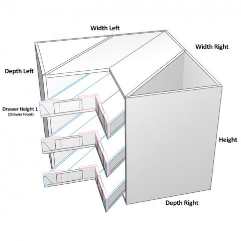3 Corner Drawers Top Drawer not equal dimensions_1