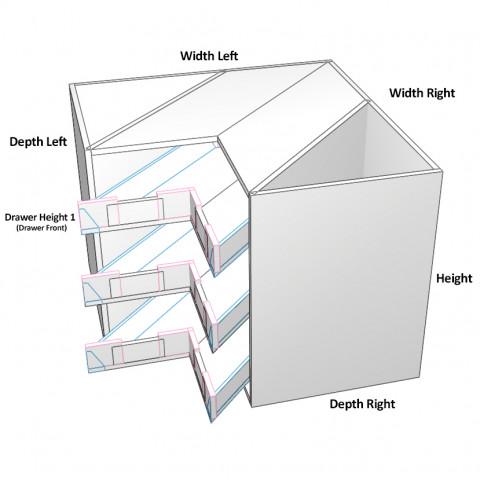 3 Corner Drawers Top Drawer not equal dimensions