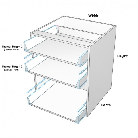 3 drawers top 2 not equal dimensions