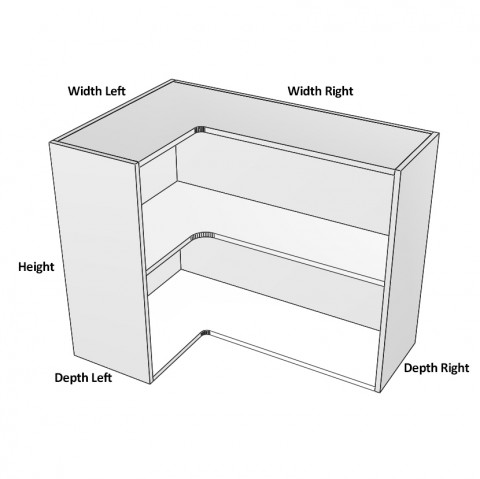 3-Door-corner left hinge 1 shelf dimensions-