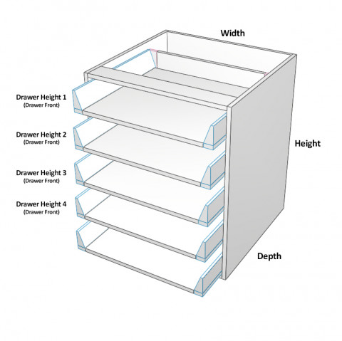 5 drawers all not equal Dimensions