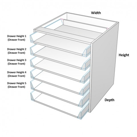 6 drawers all not equal Dimensions