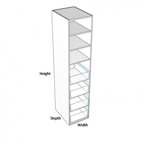 Pantry-1-door-hinge-right with 4 internal drawers dimensions