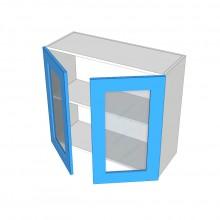 Raw MDF - Overhead Cabinet - 2 Glass Doors