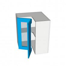 Raw MDF - Overhead Cabinet - Open Corner - 2 Glass Doors - Hinged Left