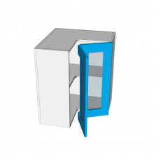 Painted - Overhead Cabinet - Open Corner - 2 Glass Doors - Hinged Right
