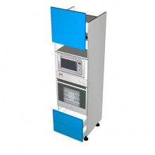 Raw MDF - Walloven Cabinet - Microwave Recess - 1 Door Aventos HL Lift Up - 2 Drawers (Blum)