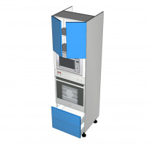Raw MDF - Walloven Cabinet - Microwave Recess - 2 Doors - 2 Drawers (Blum Legrabox)