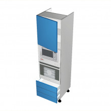 Stylelite Acrylic - Walloven Cabinet - Microwave Recess - 1 Door - Hinged Left - 3 Drawers (Finista Swift)