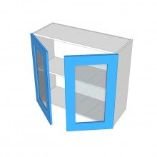 Raw MDF - Overhead Cabinet - 2 Glass Doors