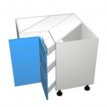 StyleLite Acrylic - Corner Drawer Cabinet - 3 Unequal Drawers (Blum)
