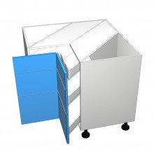 Raw MDF - Corner Drawer Cabinet - 3 Unequal Drawers (Blum)