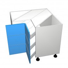 Polytec 16mm ABS - Corner Drawer Cabinet - 3 Equal Drawers (Blum)