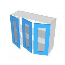 Raw MDF - Overhead Cabinet - 3 Glass Doors (2 Left 1 Right)