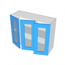 Raw MDF - Overhead Cabinet - 3 Glass Doors (1 Left 2 Right)