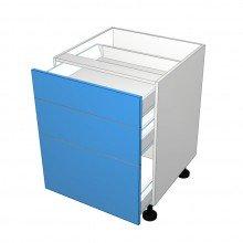 Raw MDF - Drawer Cabinet - 3 Drawers - Top 2 Drawers Smaller (Blum)