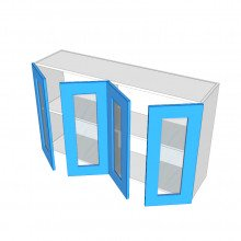 Raw MDF - Overhead Cabinet - 4 Glass Doors (2 Pairs)