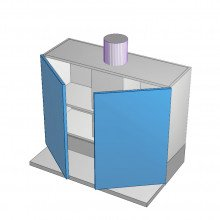 Polytec 16mm ABS - Rangehood Cabinet - Slide Out - 2 Doors - 900mm