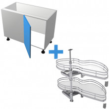 Stylelite Acrylic - Blind Corner Cabinet - SIGE Kidney Pull Out - Hinged Left