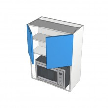 Stylelite Acrylic - Overhead Cabinet - Built In Microwave Opening - 2 Doors