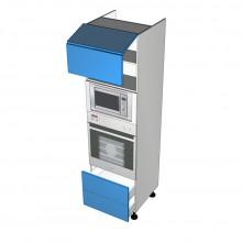 Raw MDF - Walloven Cabinet - Microwave Recess - 2 Doors Aventos HF Lift Up - 2 Drawers (Blum Legrabox)