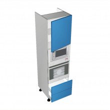 Stylelite Acrylic - Walloven Cabinet - Microwave Recess - 1 Door - Hinged Right - 2 Drawers (Blum)