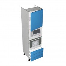 Stylelite Acrylic - Walloven Cabinet - Microwave Recess - 1 Door - Hinged Right - 3 Drawers (Finista)