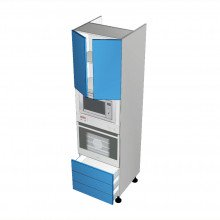 Raw MDF - Walloven Cabinet - Microwave Recess - 2 Doors - 3 Drawers (Finista)