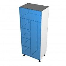 Raw MDF - Broom Cabinet - 2 Doors - Shelves Left
